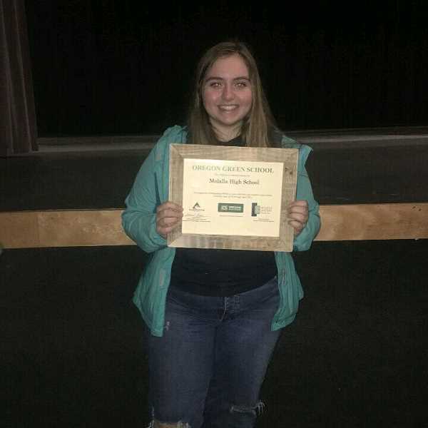 COURTESY PHOTO: NATALEE LITCHFIELD - Natalee Litchfield shows off Molalla High School's Oregon Green School certificate.
