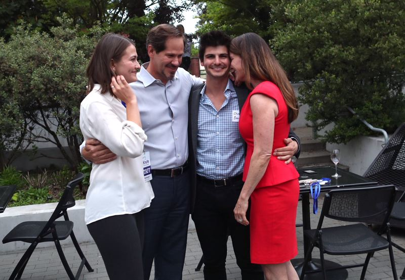 JAIME VALDEZ/PORTLAND TRIBUNE - Left to right, Hannah Buehler, Knute Buehler, Owen Buehler and Patty Buehler at the Republican candidate's primary victory event May 15 in Willsonville