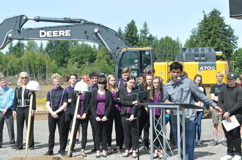 GAZETTE PHOTO: BLAIR STENVICK - Incoming Student Body President Shaurya Gaur speaks at the ceremonial groundbreaking for the new Sherwood High School.