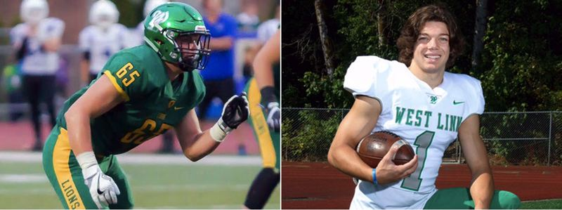 COURTESY LES SCHWAB BOWL - West Linn graduated seniors Chris Comings (left) and Taran Floyd will both suit up for the North Team in Saturday's Les Schwab Bowl at Hillsboro Stadium.