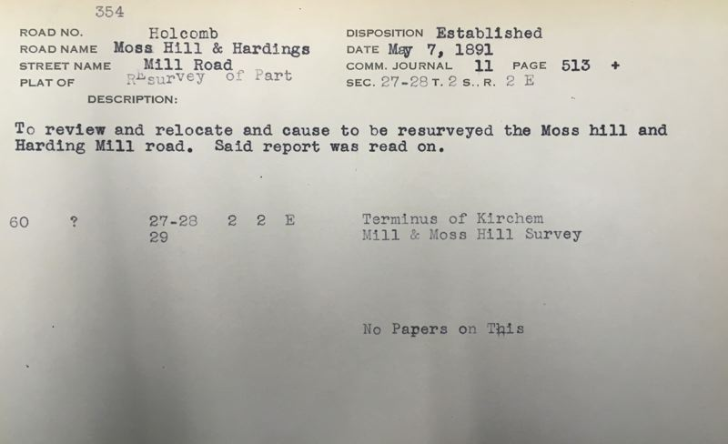 SOURCE: CLACKAMAS COUNTY SURVEYORS OFFICE - Index card for Moss Hill and Hardings Mill Road.