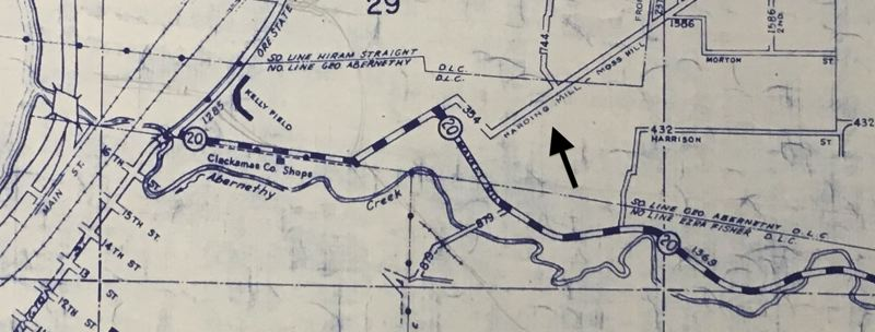 SOURCE: CLACKAMAS COUNTY SURVEYOR'S OFFICE - Mid-20th-century road map showing Road No. 354, Hardings Mill - Moss Hill Road, today's Holcomb Road, intersecting with Redland Road (then called Market Road, or Road No. 20).