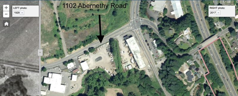 SOURCE: OREGON CITY GIS - 2017 aerial photograph showing the site of the former orchard - today the east end of the Clackamas County shops complex.