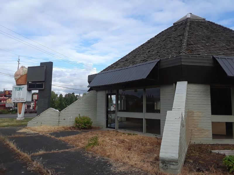 OUTLOOK PHOTO: SHANNON O. WELLS - Sandy-based Clackamas County Bank plans to demolish the former TCBY yogurt building on Burnside Road across from Cleveland Avenue to make way for a new Gresham bank branch. Construction is expected to begin this fall.