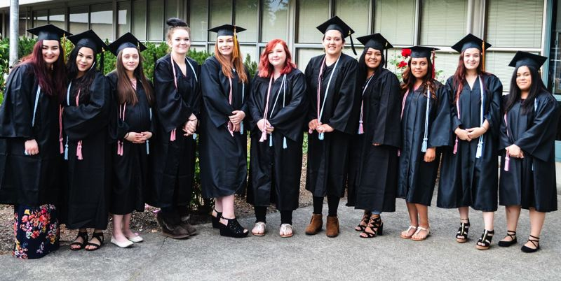 SUBMITTED PHOTO - In addition to Ashlin Shaw (from left), many other PACE students graduated early this year. Also pictured are Daisy Torres, Litzy Rivera, Abigail Borgman, Taylor Todd, Madeleine Riggs, Aurora Garcia, Karen Justo-Ramirez, Yadira Macias, Tabitha Bloebaum and Raquel Montes.