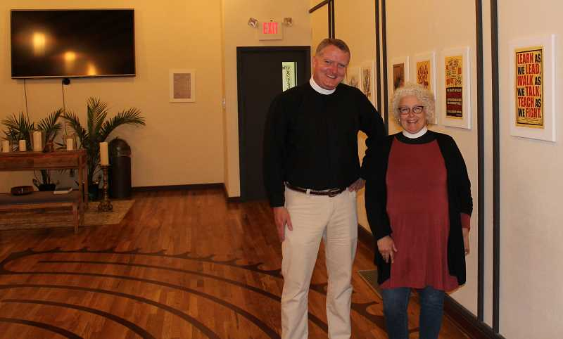REVIEW PHOTO: ANTHONY MACUK - Christ Church Episcopal Rector Rev. Jeremy Lucas and Associate Rector Rev. Alison Schultz stand in the parish's Maginnis Chapel, which will host several Parks & Rec activity classes such as Tai Chi.