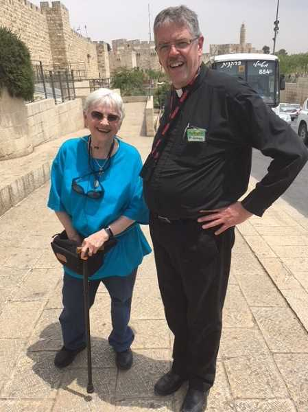 SUBMITTED PHOTO: OUR LADY OF THE LAKE  - Sister Marilyn and Father Gregg Bronsema pose for a photo during a recent pilgrimage to Jerusalem.