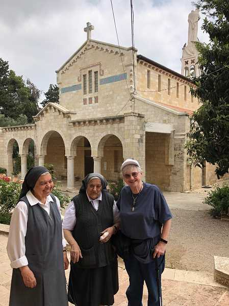 SUBMITTED PHOTO: OUR LADY OF THE LAKE  - Sister Marilyn meets with two  nuns — Sister St. Marie (left) and Sister Henriette — during a visit to St. Joseph Monastery in Israel.
