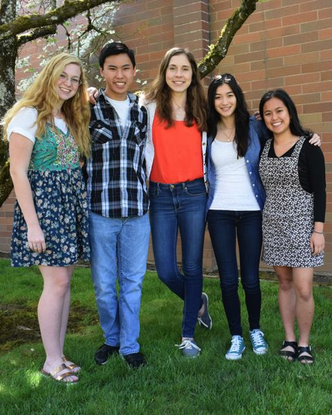 SUBMITTED PHOTO - La Salle Prep's top students for 2018 include (left to right) valedictorians Sabrina Reis and Derek Wong, as well as salutatorians Isabella Ierulli, Amber Young and Alexis Han.