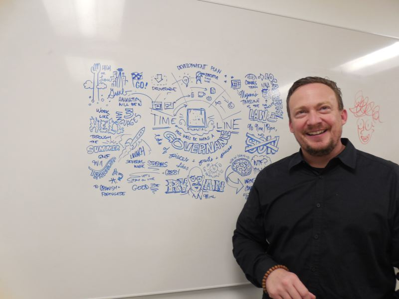 COURTESY: XPLANE - Aric Wood, CEO of Portland-based management consultancy XPLANE, in front of a visualization for a client whose name has been removed for confidentiality.
