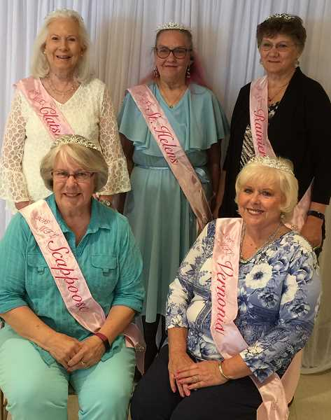 COLUMBIA COUNTY RSVP PHOTO - The 2018 My Fair Lady court. Pictured left to right, top row:  Jeanne Kangas, Patsy St. John, Carla Bodenhamer; bottom row: Sharon Brown and Mary Ann Shaw.