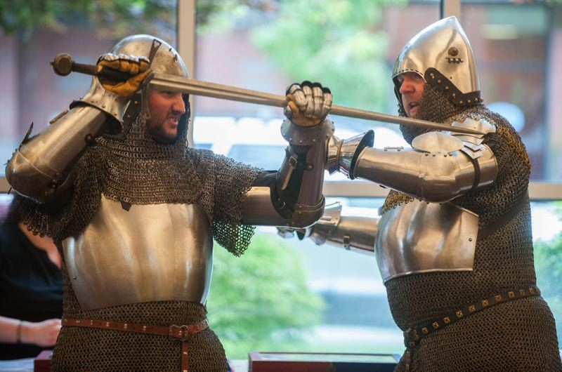 OUTLOOK FILE PHOTO - The popular Knights of Veritas will show off their skills and talk about science from 6-7 p.m., Tuesday, July 10, at the Fairview-Columbia Library. Huzzah!