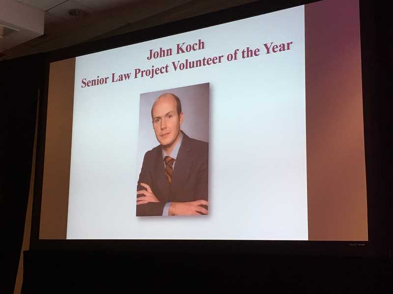 SUBMITTED PHOTO - Lake Oswego attorney John Koch has been honored by the Multnomah Bar Association as its Senior Law Project Volunteer of the Year for his pro bono work.