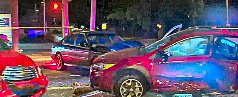 COURTESY OF KOIN-TV-6 NEWS - The multi-car crash at S.E. 82nd Avenue at Flavel Street late Saturday evening, June 16, as seen in live coverage of the event by BEE news partner, KOIN-TV-6.
