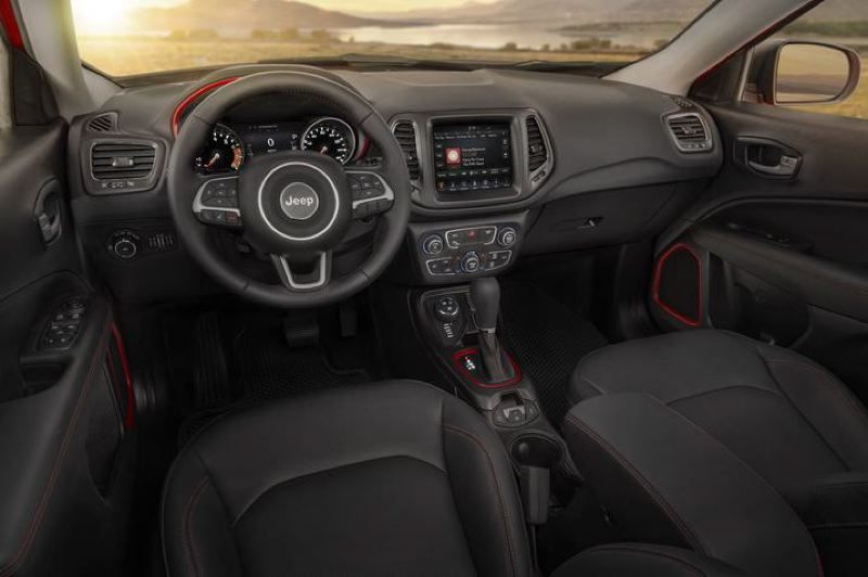 COURTESY FCA - The interior of the 2018 Jeep Compass Trailhawk is comfortable and well fitted with high quality materials.