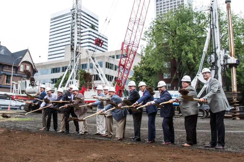 PAMPLIN MEDIA GROUP: JONTAHAN HOUSE - Bowen (center) in 2016 at the groundbreaking for Broadway Tower which opens in fall 2018.