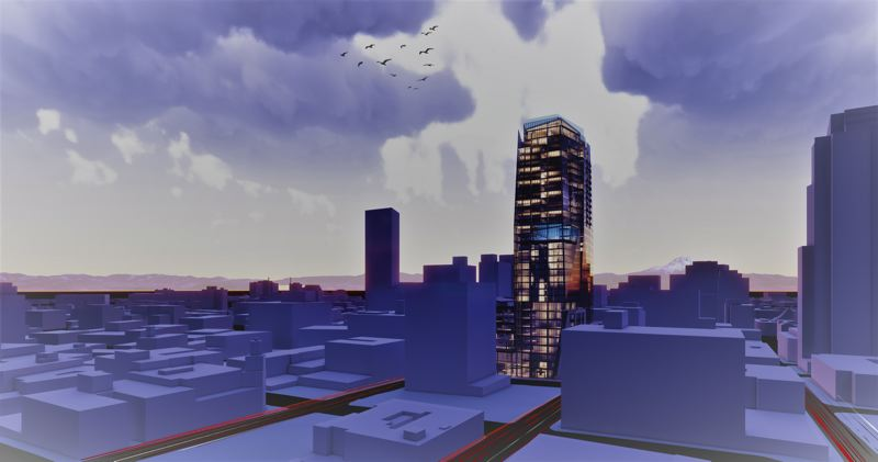 COURTESY: GBD ARCHITECTS - A very early rendering of the 35-floor tower that Walter Bowen's BPM Real Estate Group hopes to build at Block 2016, where the Alder Street Food Cart Pod sits now downtown.