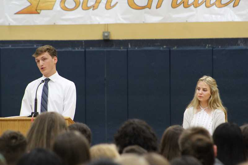 HERALD PHOTO: KRISTEN WOHLERS - Two high school students, Trevor Taylor and Sarah Patton, addressed the soon-to-be-freshmen.