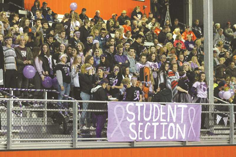 PIONEER PHOTO: CONNER WILLIAMS - Pictured is an example of Molalla's winning student section during Lavender Week 2017.