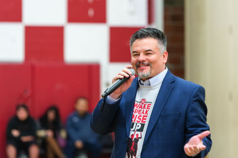 COURTESY: PORTLAND PUBLIC SCHOOLS - Superintendent Guadalupe Guerrero speaks at an April 13 statewide MEChA conference. The group supports Mexican and Mexican-descended students and stands for Movimiento Estudiantil Chicanx de Aztlán.