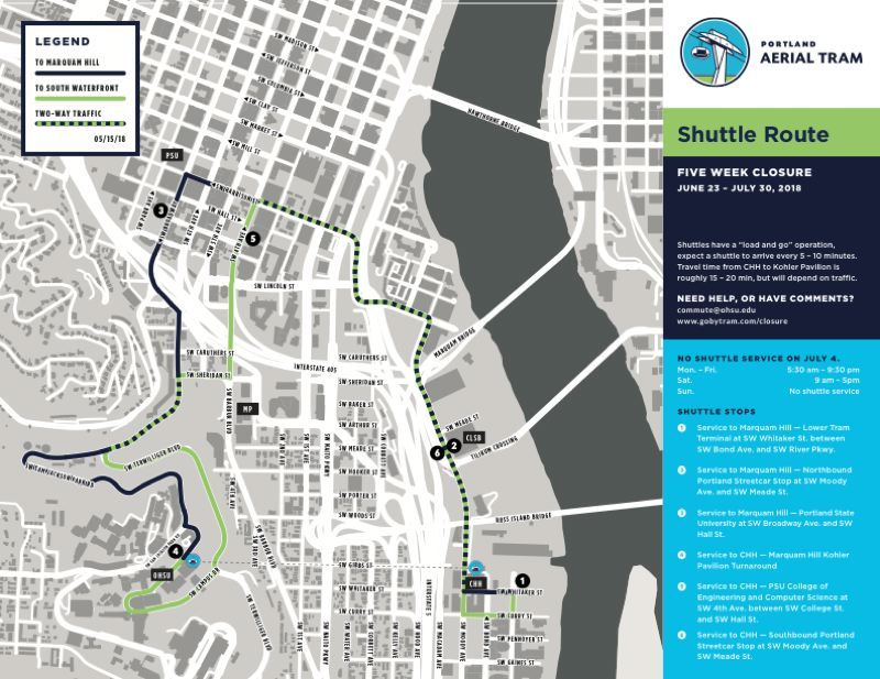 COURTESY PORTLAND AERIAL TRAM - Shuttles routes to and from the OHSU campus.