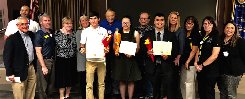 COURTESY PHOTO: HILLSBORO ROTARY CLUB - Three of the Hillsboro Rotary Club scholarship recipients attended Thursday's luncheon, including Tanner Morris, Kayla Dartez and Adrian Tenorio, posing with the club's rotarians.