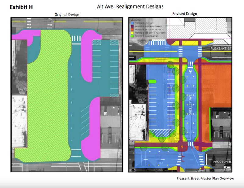 CONTRIBUTED PHOTO - The original plan would have left the bank with 26 total parking spaces, including on-street and off-street parking. The revised plan presented to council on June 12 still only provided 42 spots, 11 fewer spots than the bank currently has available on and off-site.