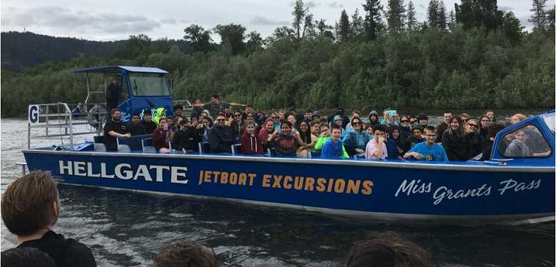Students got a chance at a jet boat road in Hellgate Canyon in southern Oregon.
