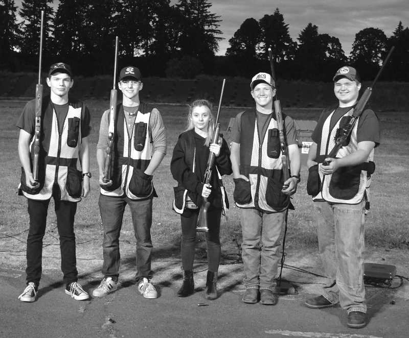 HERALD PHOTO: TANNER RUSS - Canby's trap shooting team yielded five athletes who will compete in the national competition. From left to right: Benjamin Wing (10), Jake Johnston (12), Issabella Berge (10), Danner Sullivan (10), Matt Eubanks (10). Nationals will be held July 12-15 in Mason, Michigan.