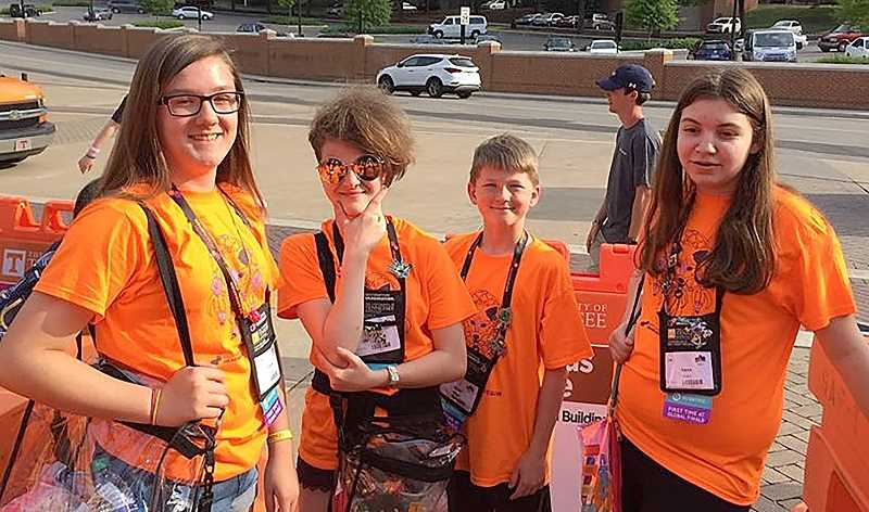 SUBMITTED PHOTO - Anna Woodward, Laramie OeDell, Jacob Bell and Ciera Ridenour pose outside the Thomas Boling Arena in Knoxville, Tennessee before the DI Challenge begins.