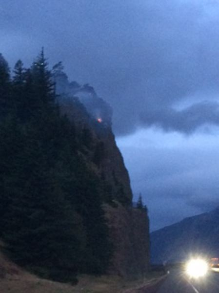 CONTRIBUTED PHOTO: OREGON DEPARTMENT OF FORESTRY - Firefighters faced steep terrain when responding to a fire overnight near Mitchell Point west of Hood River.