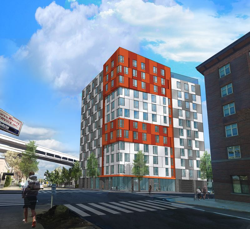 COURTESY: INNOVATIVE HOUSING, JOSEPH GALLIVAN - A rendering of Vibrant! a 12-story affordable apartment building developed by Innovative Housing. The building welcomes homeless families and those earning 30 percent of the median area household income.