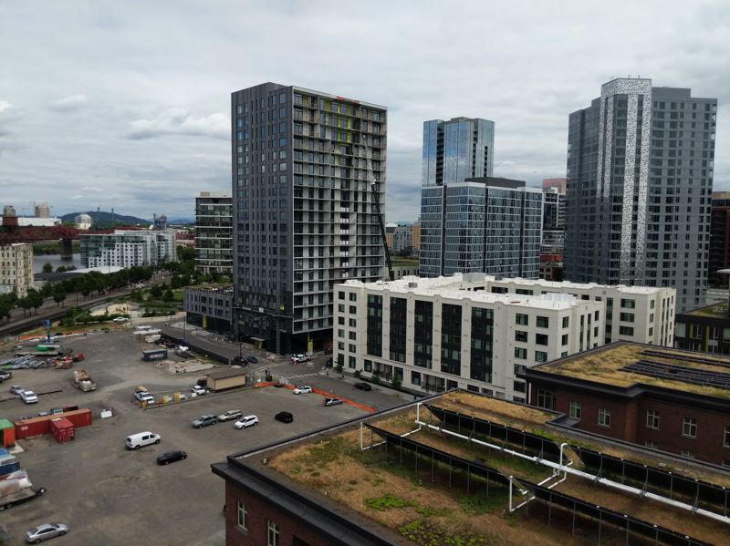 COURTESY:  JOSEPH GALLIVAN - The view from the roof of Vibrant! takes in new buildings in the North Pearl. Sarah Stevenson, executive director at Innovative Housing, joked that the views are great, until they're taken by another tall building.