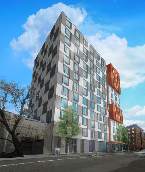 COURTESY: INNOVATIVE HOUSING - A rendering of Vibrant! a 12-story affordable apartment building developed by Innovative Housing. The building welcomes homeless families and those earning 30 percent of the median area household income.