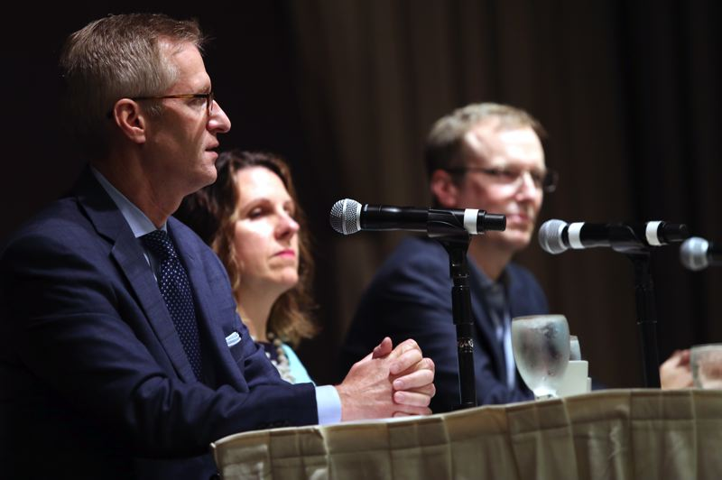 TRIBUNE PHOTO: JESSIE DARLAND - Mayor Wheeler called for a Marshall Plan to end homelessness in America during a Portland Business Alliance meeting on June 20.