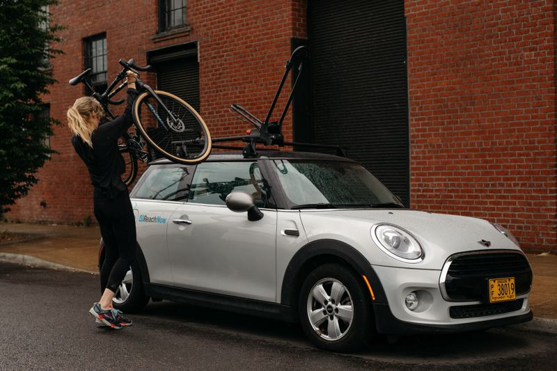 CONTRIBUTED - The ReachNow bike racks are roof-mounted Yakima Frontloaders.