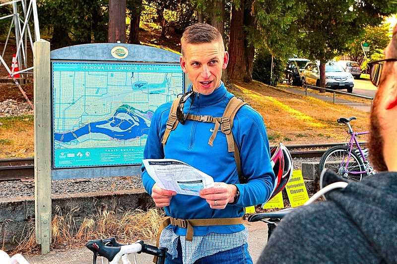 DAVID F. ASHTON - Bicyclist Steven Tuttle told THE BEE he appreciated getting the information about the July closure of the Springwater Trail, and will find a new way to get to work, down by OMSI.