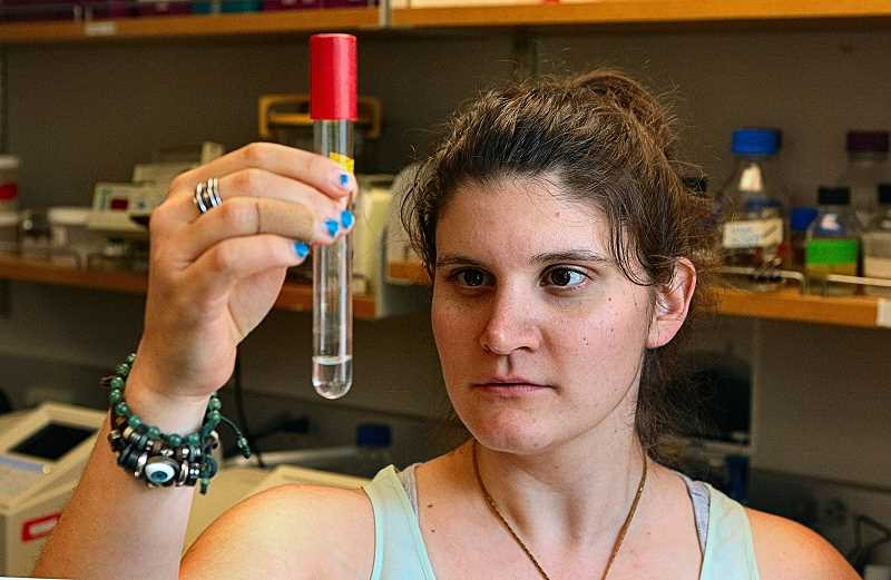 DAVID F. ASHTON - Working in her lab at Reed College, Morgan Vague tests strains of bacteria that can break down plastic bottles.