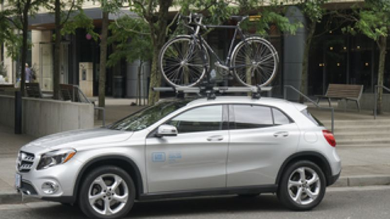 CAPTION: A CAR2GO VEHICLE OUTFITTED WITH THE NEW BIKE RACK.  