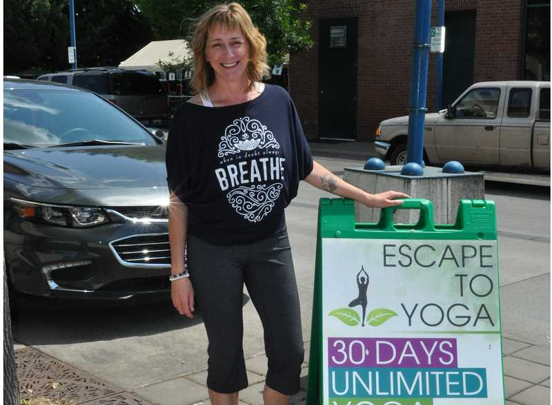 GAZETTE PHOTO: BLAIR STENVICK - Anette Alyssa recently moved her yoga studio, Escape to Yoga, from one Old Town location to another.
