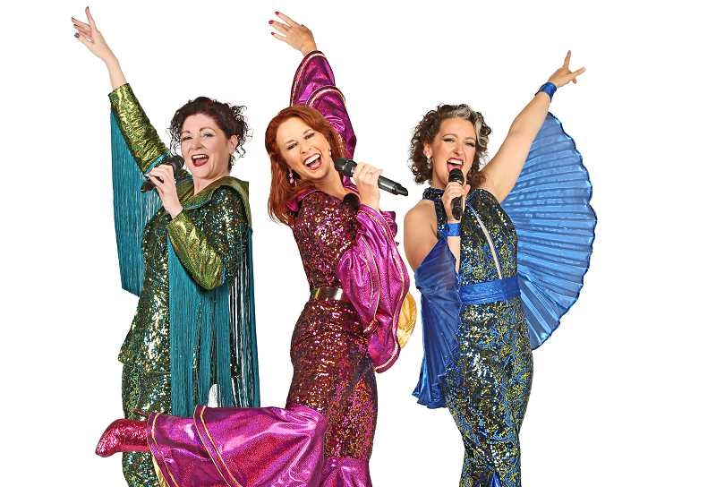 "COURTESY: BROADWAY ROSE - Peggy Taphorn, center, is joined by Lisamarie Harrison and Laura McCulloch in ""Mamma Mia!"" at Broadway Rose Theatre Company."