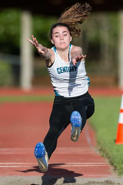 STAFF PHOTO: CHRISTOPHER OERTELL - Century's Nina Mastrantonio competes in the long jump during a meet earlier this spring. Mastrantonio will be competing in track and field for Lane Community College next fall.