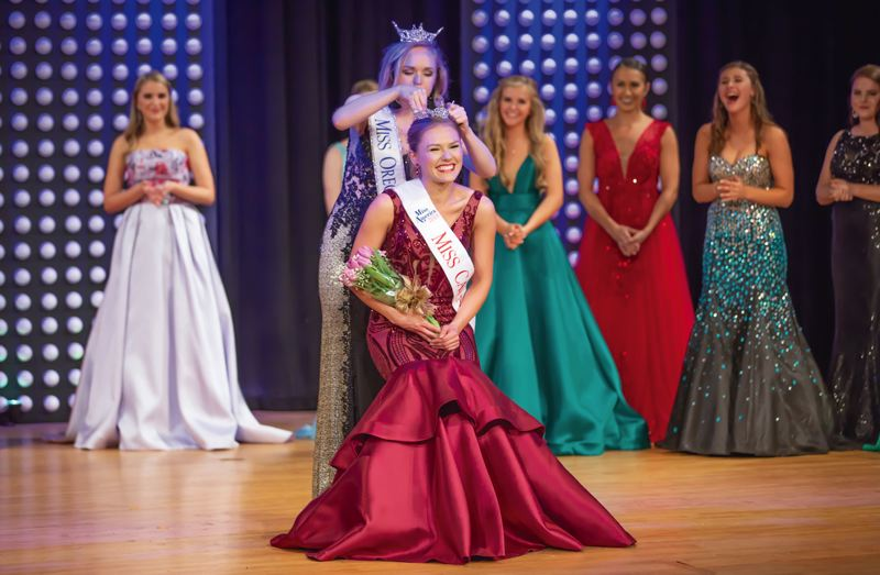 SUBMITTED PHOTO - Alyx Amber is crowned as Miss Cascade 2018 during a ceremony in Oregon City on May 5.