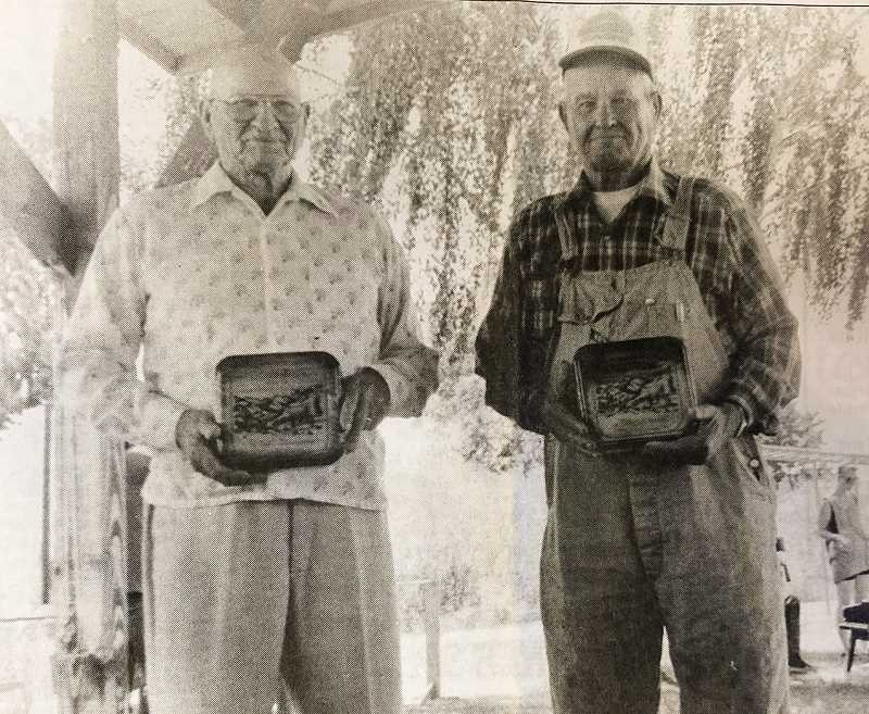 """CENTRAL OREGONIAN FILE PHOTO  - June 24, 1993: Elvin Johnson (left) and Phil Werner were honored Saturday at Ochoco Creek Park during the """"Honoring the Pioneer Men"""" celebration."""