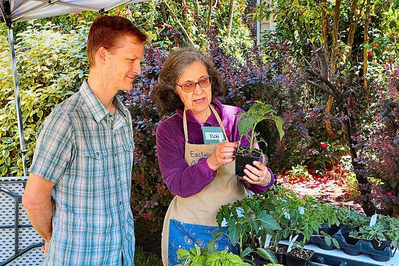 DAVID F. ASHTON - Gary Burgoine gets help choosing a plant from Eastmoreland Garden Club member Vicki Mintkeski.