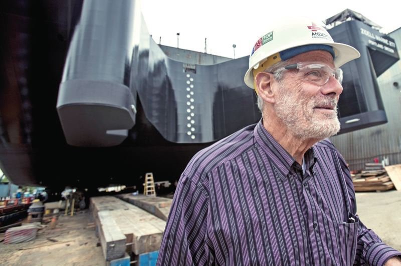 PAMPLIN MEDIA GROUP: JAIME VALDEZ - Jay Zidell in May 2016 in front of the last barge to be built at his family's shipyard in South Waterfront. A disagreement over who should pay for public infrastructure has shelved development plans.