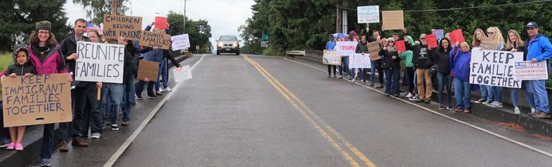 COURTESY PHOTO: INNOVATION LAW LAB - Protestors line the road near the Sheridan Federal Detnetion Center, an hour south of Portland. On Monday, a federal judge ruled that more than 100 immigration detainees at the facility would get access to attorneys from the Innovation Law Lab.