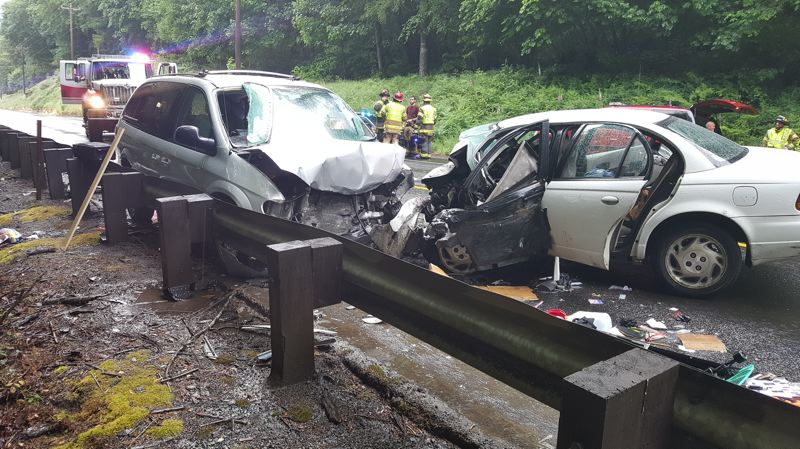 COURTESY PHOTO: OREGON STATE POLICE - Two people died as the result of a head-on collision Sunday, June 10, on Highway 6 near Lee's Camp.