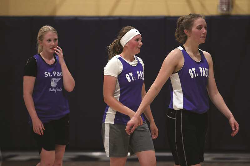 PHIL HAWKINS - From left, St. Paul's Karlee Southerland, Megan Tuck and Erin Counts helped the Buckaroos place fifth and seventh, respectively, at Country Christian High School's two summer league girls basketball tournaments this month.