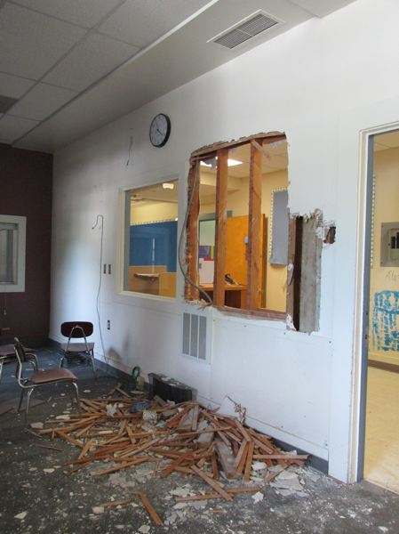 OUTLOOK PHOTO: TERESA CARSON - This is the old office at Troutdale Elementary. Workers are stripping the inside of the school to ready it for demolition which will happen over the next few weeks.